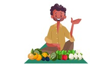 Vector Graphic Illustration. Indian Vendor Is Sitting And Selling Vegetables. Individually On White Background.