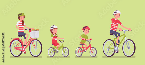 Obraz Happy family enjoying bike ride. Father, mother, son and daughter together in a sport activity riding bicycles. Positive friendly outdoor recreation or fun. Vector flat style cartoon illustration - fototapety do salonu