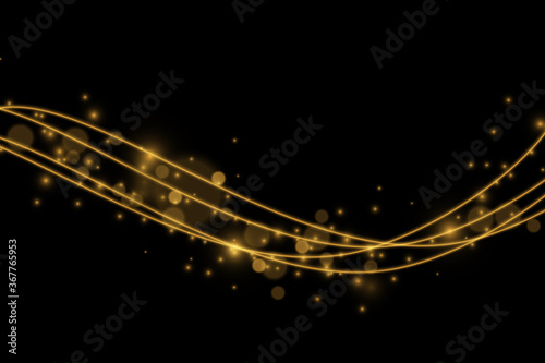 Fototapeta Light effect with glowing gold wavy lines and sparkles isolated obraz na płótnie