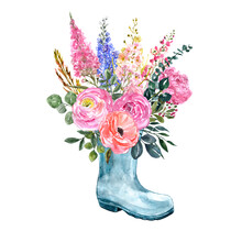 Watercolor Floral Bouquet In A Garden Boot Vase. Hand Painted Summer Or Spring Themed Illustration For Cards, Greetings, Invitations. Rustic Country Style.