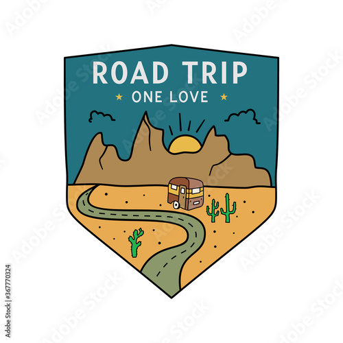 Fototapeta Vintage camping RV logo, adventure emblem illustration design. Outdoor road trip label with camper trailer and text - Road trip One love. Unusual linear hipster style sticker. Stock vector. obraz