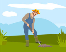 Man With Shovel Digging A Hole Illustration. Man Digs A Hole In The Ground For Planting Trees. A Worker Holding A Shovel. Farmer Works In The Field, Digs Up The Crop. Autumn Harvest, Farm Work