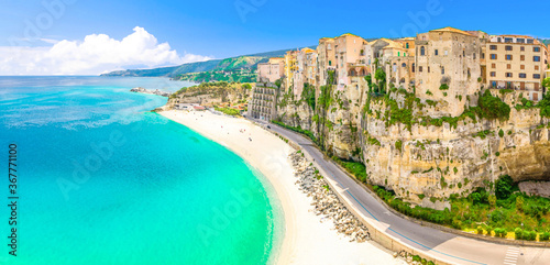 Watercolor drawing of Aerial panoramic view of Tropea town and beach coastline of Tyrrhenian Sea