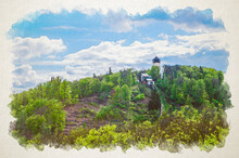 Watercolor Drawing Of Diana Observation Tower Rozhledna Diana And Funicular
