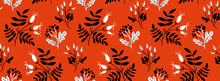 Red Rose Hip Seamless Pattern With Black Hand Drawn Branches And Leaf. Folk Art Style, Traditional Vector Ornament.