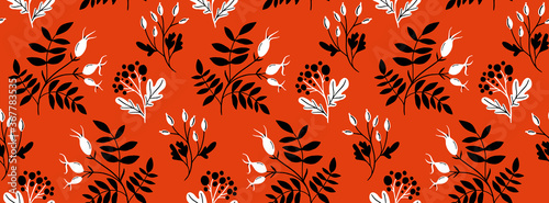 Canvastavla Red rose hip seamless pattern with black hand drawn branches and leaf