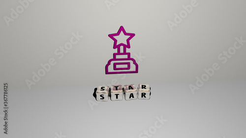 3D graphical image of STAR vertically along with text built by metallic cubic letters from the top perspective, excellent for the concept presentation and slideshows Wallpaper Mural