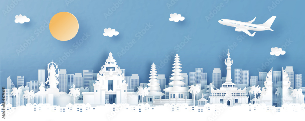 Fototapeta Panorama view of Denpasar, Bali. Indonesia with temple and city skyline with world famous landmarks in paper cut style vector illustration