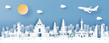 Panorama View Of Denpasar, Bali. Indonesia With Temple And City Skyline With World Famous Landmarks In Paper Cut Style Vector Illustration