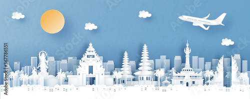 Obraz Panorama view of Denpasar, Bali. Indonesia with temple and city skyline with world famous landmarks in paper cut style vector illustration - fototapety do salonu