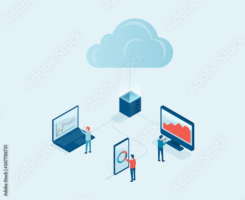 Obraz business technology cloud computing server service concept with developer team working concept. isometric design. Big data processing, cloud database and data transferring  - fototapety do salonu