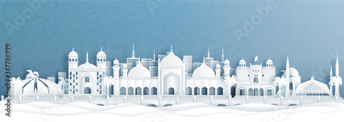 Fotografie, Obraz Panorama view of Islamabad, Pakistan skyline with world famous landmarks of Indonesia in paper cut style vector illustration