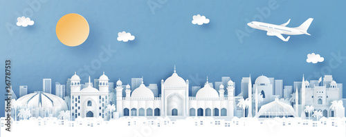 Fototapeta Panorama view of Islamabad, Pakistan with temple and city skyline with world fam