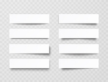 Plastic Or Paper White Banners With Shadow Isolated On Transparent Background. Vector Blank Sticker, Header, Label Or Bar Template