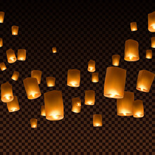 Lanterns Isolated On Transparent Background. Diwali Festival Floating Lamps. Vector Indian Paper Flying Lights With Flame At Night Sky.