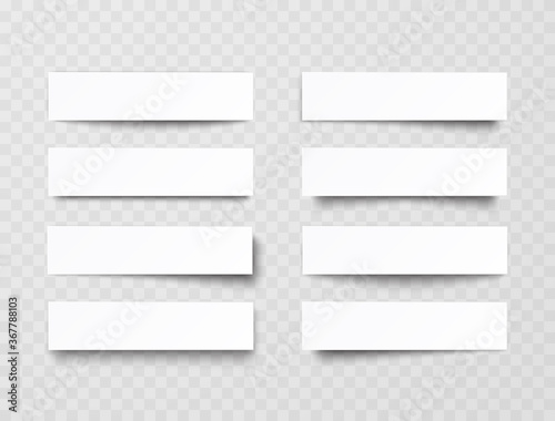 Fototapeta Plastic or paper white banners with shadow isolated on transparent background. Vector blank sticker, header, label or bar template obraz