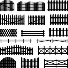 Rural Fences Wooden Set Vector...