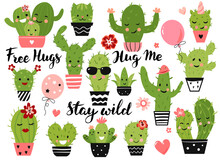 Cute Cactus Plant With Funny Kawaii Faces In Pots. Vector Illustration Set.