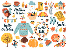 Autumn Icons Set: Falling Leav...