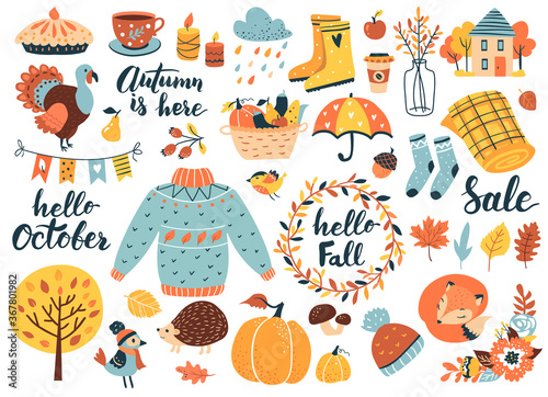 Valokuvatapetti Autumn icons set: falling leaves, pumpkins, sweater, cute fox, floral wreath, candles and other