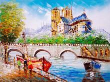Oil Painting - Street View Of Notre-Dame De Paris