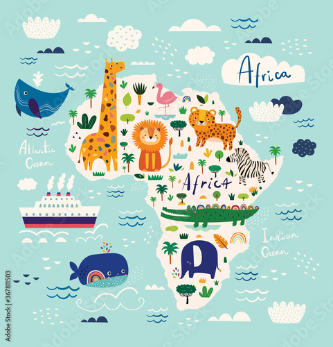 Map of Africa. African animals leopard, lion, giraffe, crocodile, zebra, flamingo, elephant. Childish print with wild animals