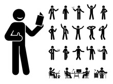 Stick Figure Man Different Poses, Emotions Face Design Vector Icon Set. Reading, Talking, Happy, Sad, Surprised, Amazed, Angry, Standing, Sitting At Office Stickman Person On White