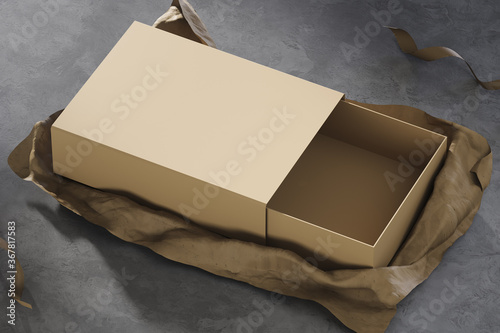 Fényképezés Realistic gift box on kraft paper background and concrete black floor