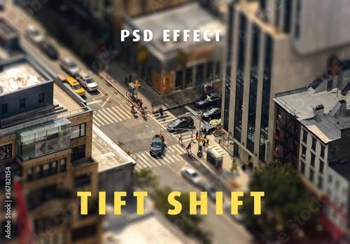 Obraz Miniature Tilt Shift Lens Effect Mockup - fototapety do salonu