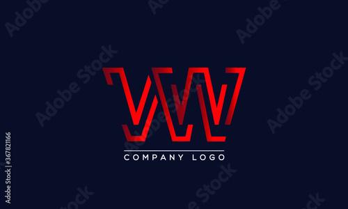 Fototapeta Abstract creative minimal unique alphabet letter icon logo VW