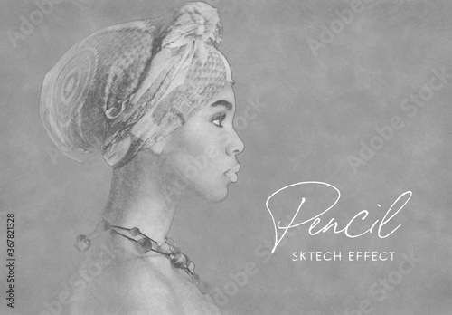 Fototapeta Pencil Drawing Sketch Photo Effect Mockup obraz