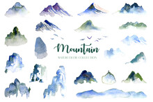 Water Color Mountain, Hill And...