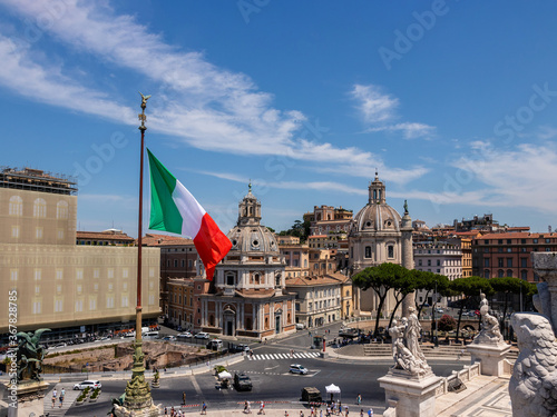 view of Venice square and waving Italian flag