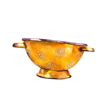 Watercolor Illustration.old Vintage Enameled Yellow Colander. Metal Retro Tableware.Isolated On A White Background.