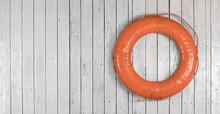Orange Marine Lifebuoy On Whit...