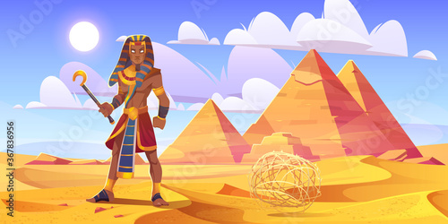 Fotografie, Obraz Ancient Egyptian pharaoh with rod in desert with pyramids