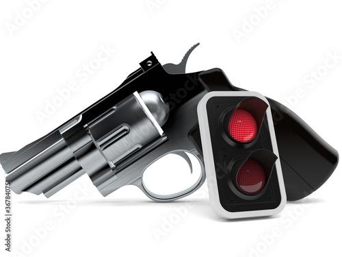 Obraz Gun with red traffic light - fototapety do salonu
