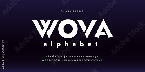 Papel de parede Abstract digital modern font design, trendy alphabet letters and numbers