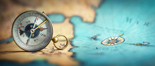 Magnetic Old Compass On World Map.Travel, Geography, Navigation, Tourism And Exploration Concept Background. Macro Photo. Very Shallow Focus.