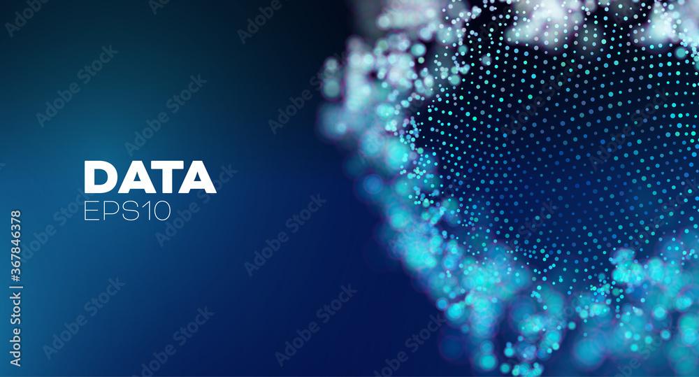 Fototapeta 3D data sphere .Artificial intelligence abstract vector background. Global network