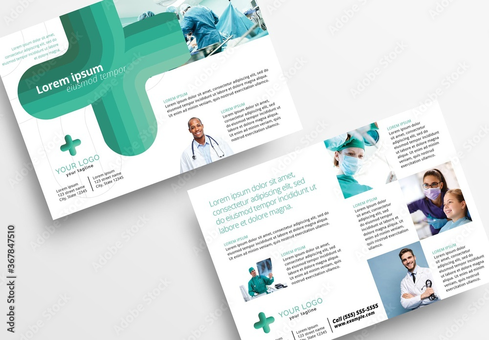 Fototapeta Modern Medical Flyer with Turquoise Colors