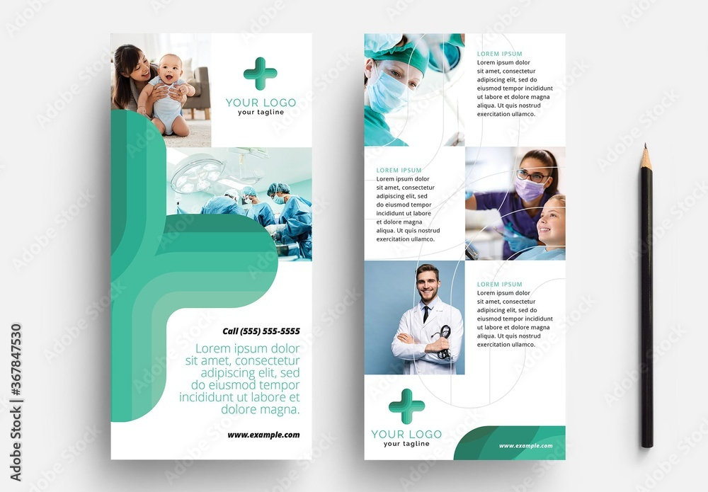 Fototapeta Thin Flyer for Hospital and Medical Services