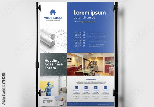 Fototapeta Poster Banner Layout for Handyman Construction Services obraz
