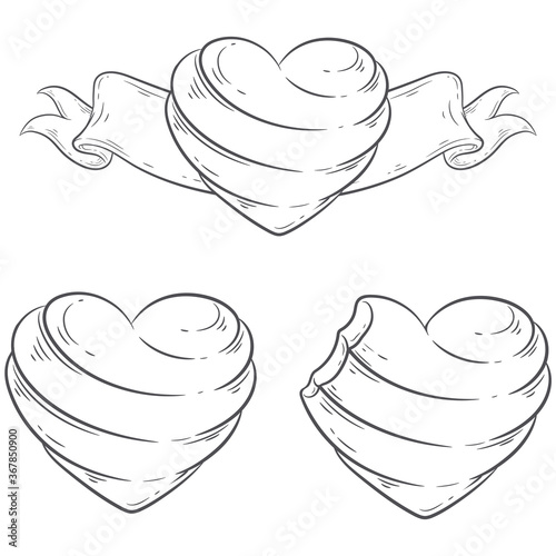Line art set of heart shaped bitten and intact candies Canvas-taulu