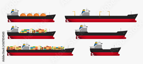 Canvas Print image tanker different type set side view