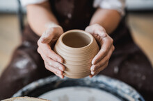 Master Class On Modeling Of Clay On A Potter Wheel In The Pottery Workshop
