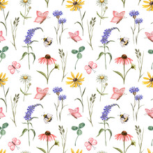Colorful Wildflower Seamless Pattern. Watercolor Cute Summer Meadow Plants, Butterflies And Bee On White Background. Floral Botanical Print. Hand Painted Cornflower, Rudbeckia, Daisy Flowers.