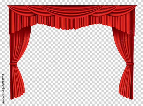 Fotomural Red curtains realistic