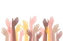 Many Hands Of Different People In Unity Raise Hands Up. Celebration, Meeting, Commonwealth. Vector Stock Flat Illustration.