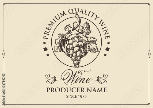 Obraz Wine label with a hand-drawn bunch of grapes and calligraphic inscription on a light background. Vector label in retro style for red and white grape wine - fototapety do salonu